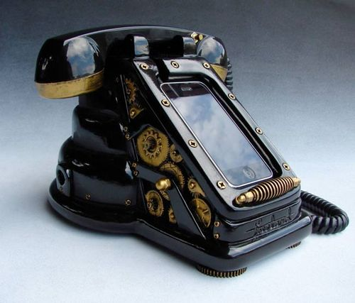 Steampunk_iRetrofone_iPhone_dock